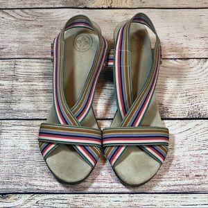 ♥️Tory Burch striped wedge platform sandals sz 8